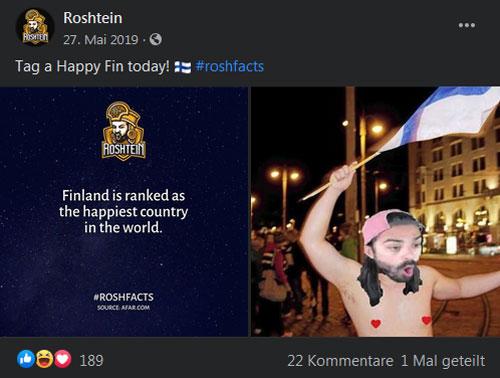 Roshtein Facebook Beitrag