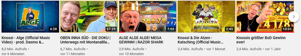 Casino Streamer Knossi beliebteste Videos
