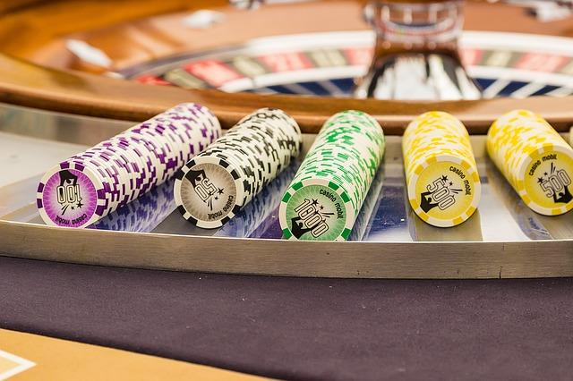 Roulette Tisch und Jetons