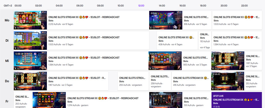 JackpotRabbit Twitch Streaming Zeiten