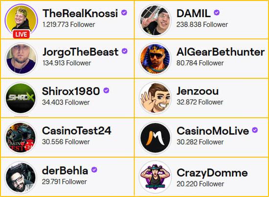 Top Ten Deutsche Casino Streamer
