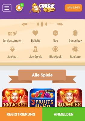 Cookie Casino mobile App