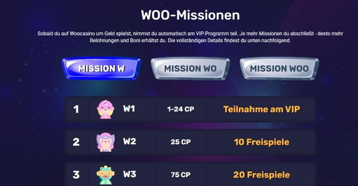Woocasino Missionen