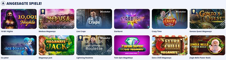 Casino Room angesagte Spiele