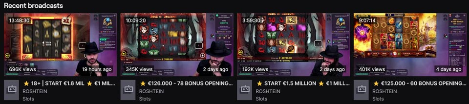 Roshtein Twitch recent broadcasts