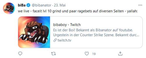 Ein Tweet von Bibaboy auf Twitter