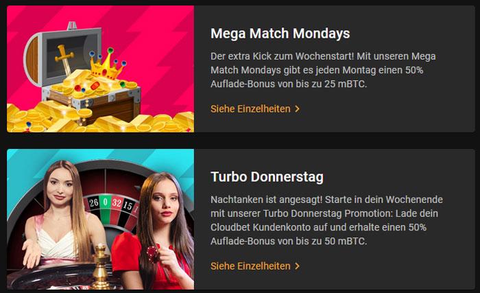 Ein paar Beispiele von Promotions des Cloudbet Casinos