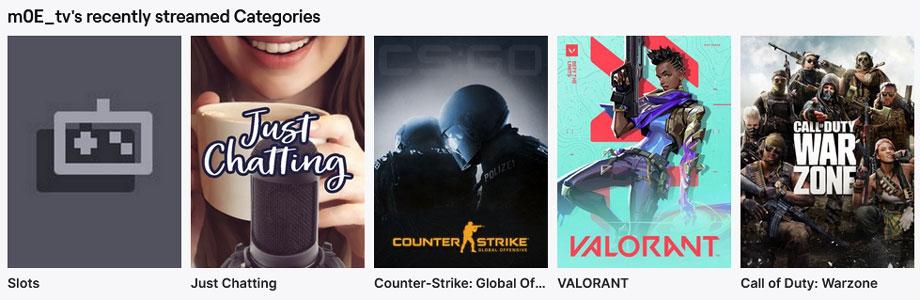 Die Kategorien auf dem Twitch Kanal von m0e_tv