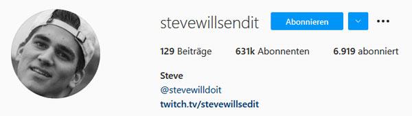 Ein Vorschaubild des Instagram Kanals von SteveWillSendIt
