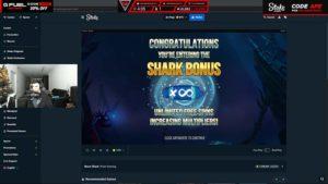 Vorschaubild von TrainwrecksTV wie er bei Razor Shark den Bonus gewinnt