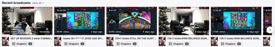 Eine Übersicht über veroeffentlichte Videos auf dem Twitch Kanal von TrainwrecksTV