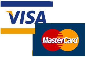 Die Logos von Visa- und Mastercard