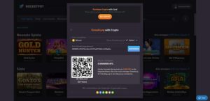 Vorschau der Rocketpot.io Bitcoin Einzahlung