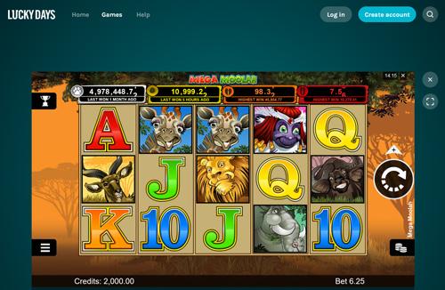 Lucky Days Casino Mega Moolah