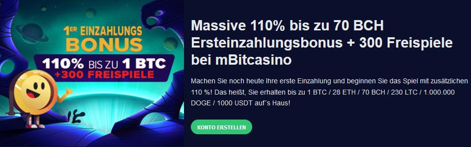 mBit Casino Ersteinzahlungsbonus in BCH
