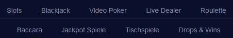 mBit Casino Spiele Kategorien