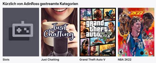 Die Streaming Kategorien von Adin Ross auf Twitch